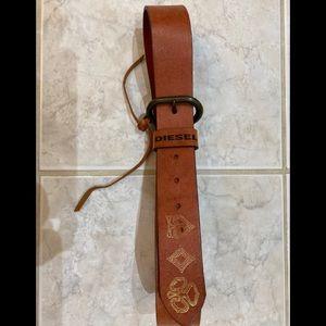 DIESEL WOMEN Brown/Orange Leather Belt Sz 80